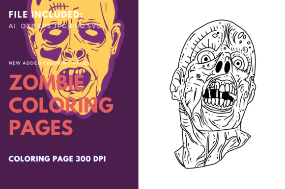 Print on Demand: Living Dead Screaming Face Coloring Page Graphic Coloring Pages & Books By stanosh