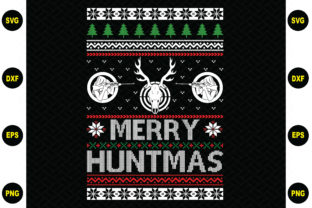 Print on Demand: Merry Huntmas Ugly Christmas Sweater Graphic Crafts By BDB_Graphics