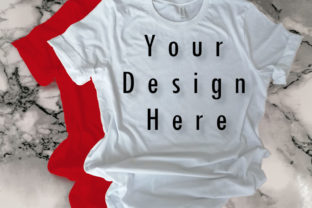 Mockup Red & White Bella Canvas T-shirt Graphic Product Mockups By MockupsStudio