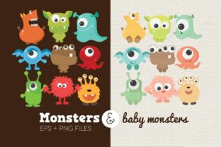 Monsters and Baby Monsters Clipart Graphic Illustrations By peachycottoncandy