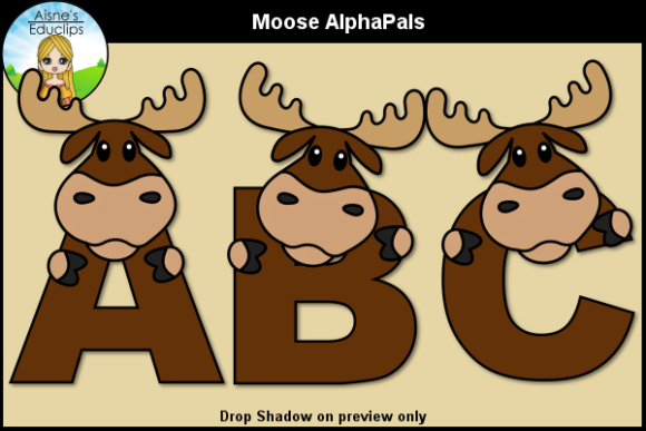Print on Demand: Moose AlphaPals Graphic Objects By Aisne Educlips
