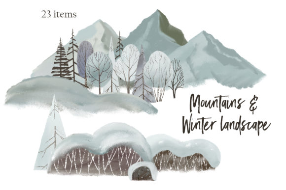 Mountains &  Winter Landscape Clipart Graphic Illustrations By lena-dorosh