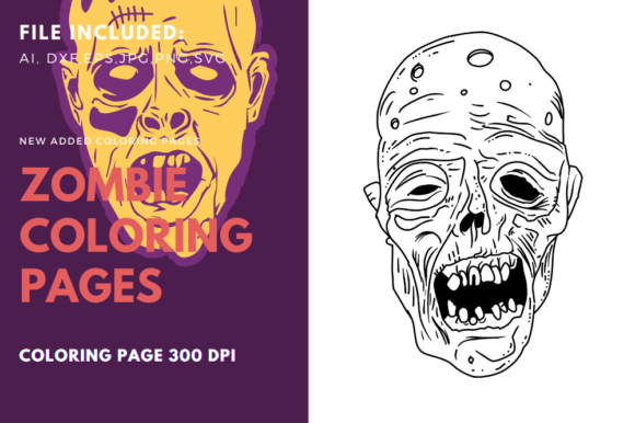 Old Zombie Face Coloring Page Graphic