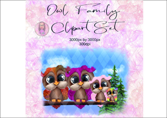 Owl Family Clipart Set Graphic Illustrations By Marelia Designs