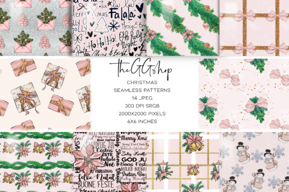 Print on Demand: Pink Christmas Seamless Patterns Graphic Patterns By TheGGShop
