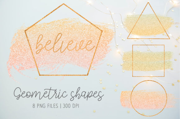Print on Demand: Pink and Gold Geometric Shapes Graphic Illustrations By loyaarts