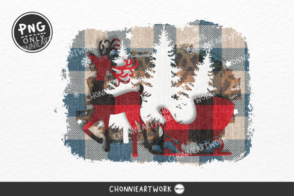 Plaid Reindeer Design, Blue Plaid Png Graphic Crafts By Chonnieartwork