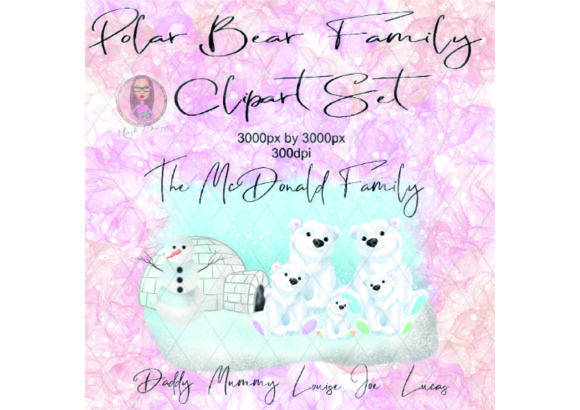 Polar Bear Family Clipart Set Graphic Illustrations By Marelia Designs