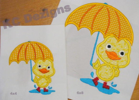 Puddle Duck Standing with Umbrella Embroidery