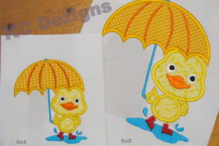 Puddle Duck Standing with Umbrella Farm Animals Embroidery Design By karen50