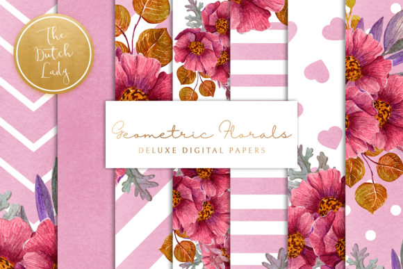 Print on Demand: Purple Floral Geometric Backgrounds Graphic Patterns By daphnepopuliers