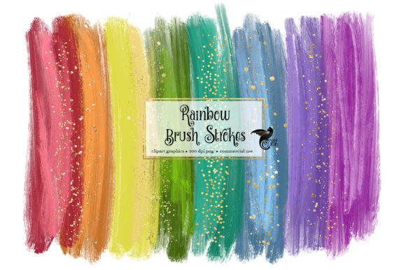 Print on Demand: Rainbow Brush Strokes Clipart Grafik Illustrations von Digital Curio