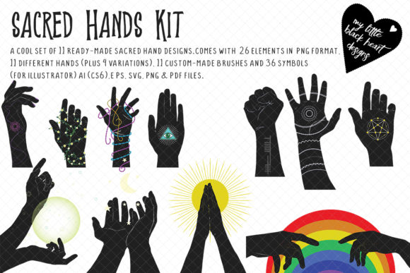 Sacred Hands Kit Graphic Illustrations By My Little Black Heart