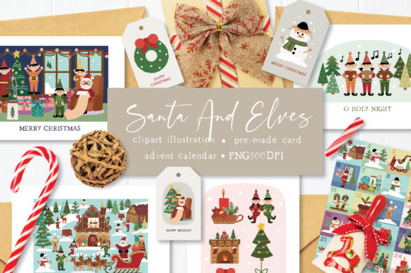 Print on Demand: Santa and Elves Clipart Illustration Graphic Illustrations By Caoca Studio