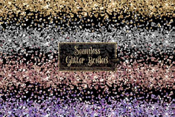 Print on Demand: Seamless Glitter Borders Clipart Graphic Illustrations By Digital Curio