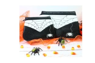 Spooky Spider Zipper Bag in the Hoop Accessories Embroidery Design By Sookie Sews