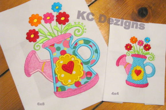 Spring Can with Flowers Applique Spring Embroidery Design By karen50