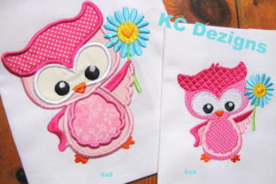 Spring Owl with Flower Birds Embroidery Design By karen50