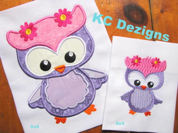 Spring Owl with Flowers Applique Birds Embroidery Design By karen50