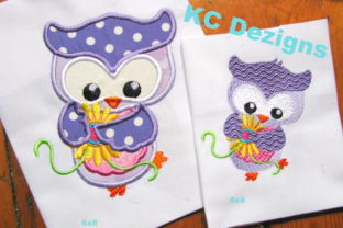 Spring Owl with Yellow Flowers Applique Birds Embroidery Design By karen50