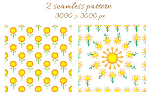 Sunflower Patterns Graphic Illustrations By OK-Design 2