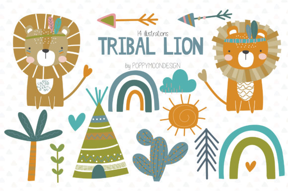 Print on Demand: Tribal Lion Clipart Set Graphic Illustrations By poppymoondesign