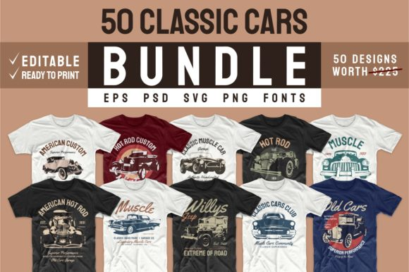 Print on Demand: Vintage Car T-shirt Design Bundle Vector Gráfico Print Templates Por Universtock