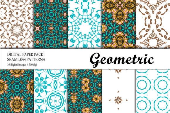 Print on Demand: Wallpaper Geometric Red Green Blue Graphic Backgrounds By isalnesia