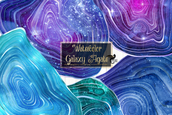 Print on Demand: Watercolor Galaxy Agate Clip Art Graphic Illustrations By Digital Curio