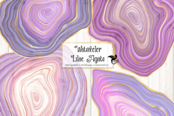Print on Demand: Watercolor Lilac Agate Clip Art Graphic Illustrations By Digital Curio