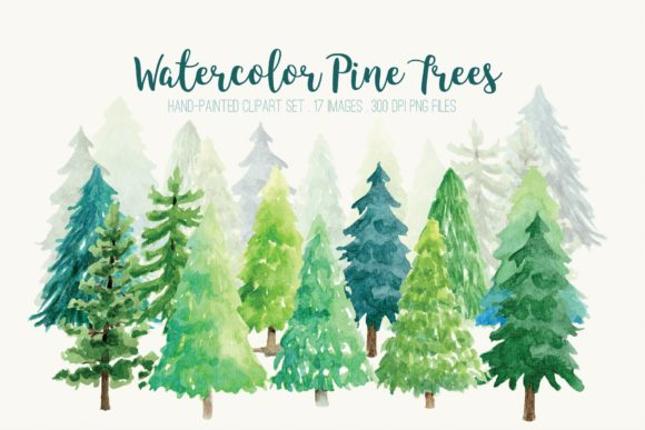 Watercolor Pine Trees Clip Art Graphic Illustrations By peachycottoncandy