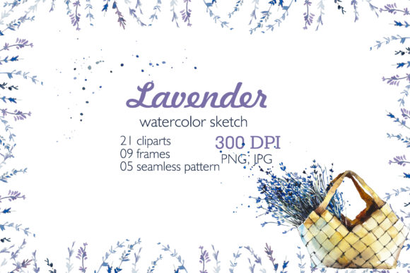 Watercolor Two Set Lavender Graphic Illustrations By Мария Кутузова