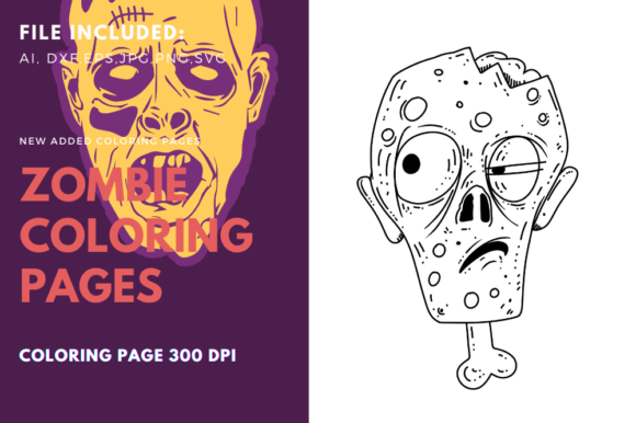 Zombie Head and Boone Coloring Graphic Graphic