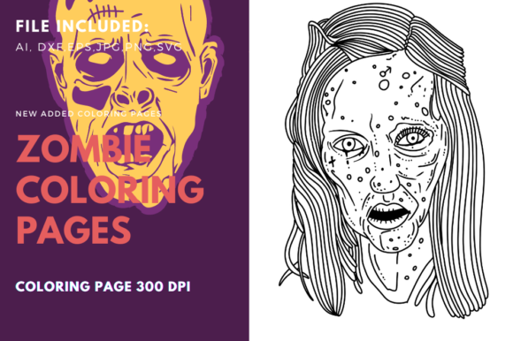 Zombie Scary Woman Coloring Page Graphic