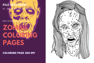 Print on Demand: Zombie Scary Woman Coloring Page Graphic Graphic Templates By stanosh
