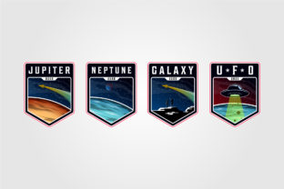 Set of Space Landscape Planet Logo Graphic Logos By lawoel