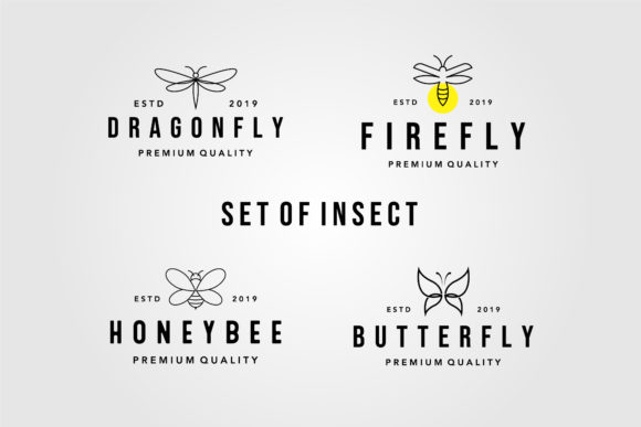 Set of Vintage Line Art Insect Logo Graphic Logos By lawoel