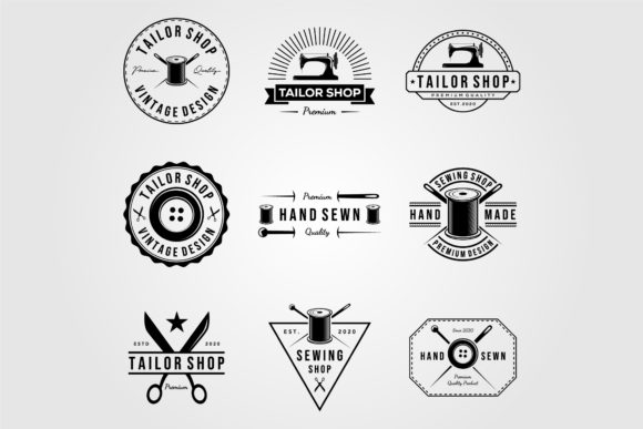 Set of Vintage Tailor Shop Sewn Logo Graphic Logos By lawoel