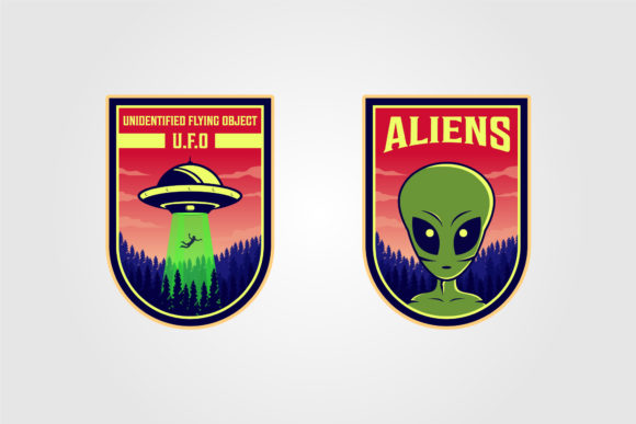 Ufo and Alien Logo Vector Illustration Graphic Logos By lawoel