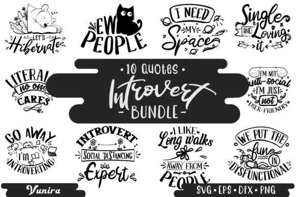 Print on Demand: 10 Introvert Bundle | Lettering Quotes Graphic Crafts By Vunira