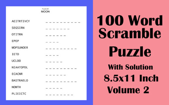 100 Word Scramble Puzzle 8.5x11 Volume 2 Graphic KDP Interiors By Seven Elephant