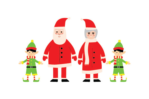 Mr. & Mrs. Clause with Elves Cut File