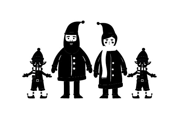 Mr. & Mrs. Clause with Elves Cut File Download