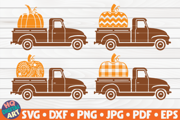 Print on Demand: 4 Patterned Pumpkin Trucks SVG Bundle Graphic Crafts By mihaibadea95
