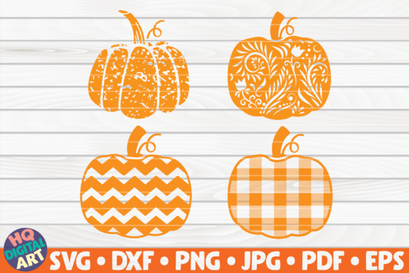 Print on Demand: 4 Patterned Pumpkins SVG Bundle Graphic Crafts By mihaibadea95