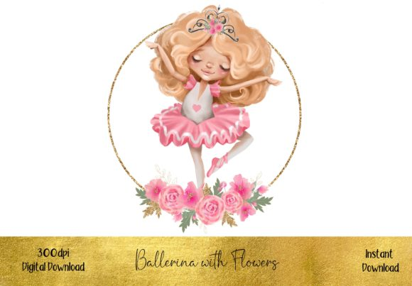 Beautiful Ballerina with Flowers Graphic