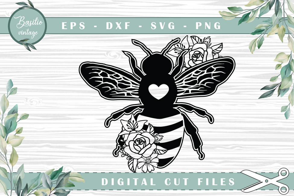 Bee Floral Bee Cutting Files SVG File