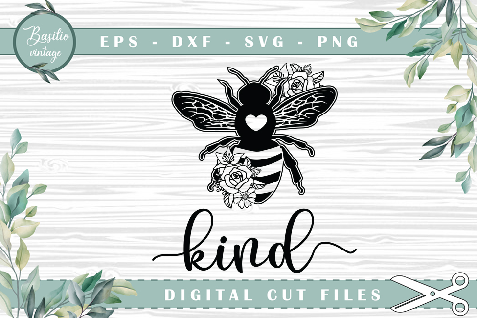 Bee Kind Be Kind Bee with Heart… SVG File