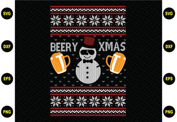 Print on Demand: Beery Xmas Sweater Design Graphic Graphic Templates By BDB_Graphics