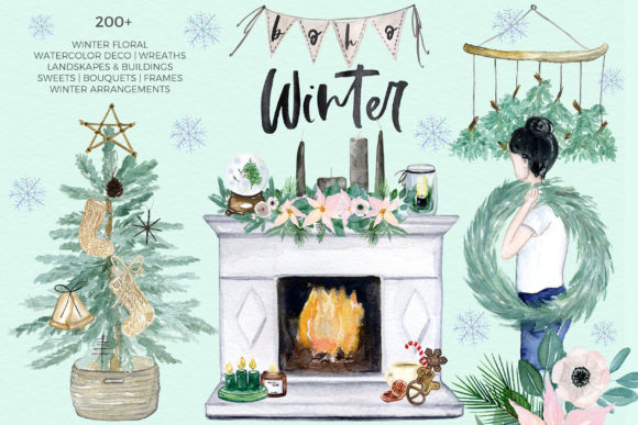 Boho Winter Christmas Watercolors Graphic